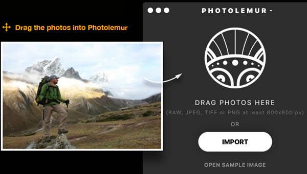 Photolemur Drag and Drop Pictures